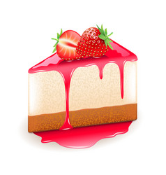Strawberry cheesecake isolated on white vector