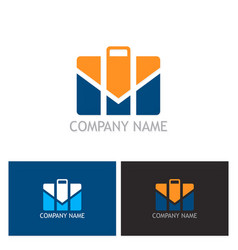 Suitcase business company logo vector