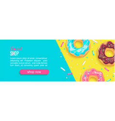 sweet shop horizontal banner with donuts vector image