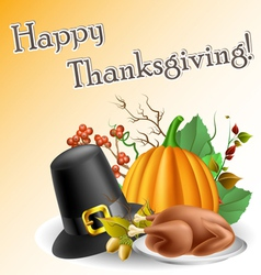 Thanksgiving text frame with pumpkin and turkey vector image