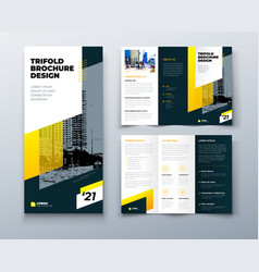 Tri fold yellow brochure design with square shapes vector