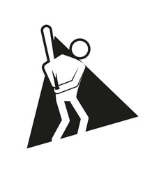 Triangle block baseball sport figure outline vector