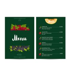 Vegan cafe food menu design vector