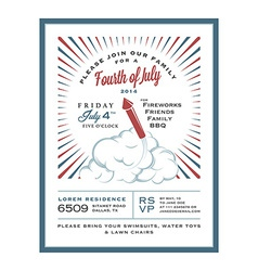 Vintage 4th july independence day invitation vector
