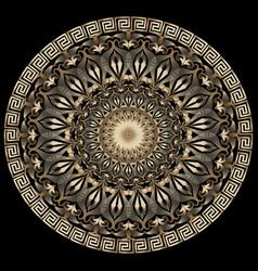 vintage floral greek 3d mandala pattern vector image