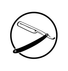vintage old razor blade circular emblem vector image