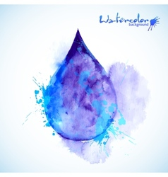 Watercolor painted blue drop vector image