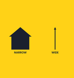 Wide and narrow black up arrow on a yellow vector