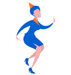 young woman in blue office dress is dancing fools vector image