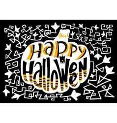 Happy Halloween lettering composition in pumpkin vector image vector image
