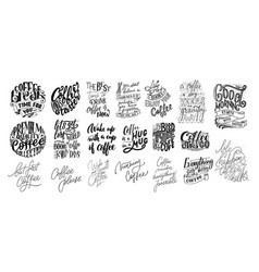 set of hand lettering quotes with sketches for vector image