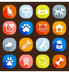 Trendy Flat dog and cat icons elements vector image vector image