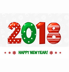 cartoon poster happy new year 2018 vector image