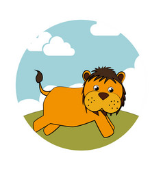 circular landscape with colorful lion vector image