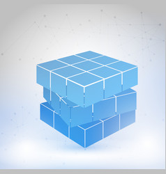 cubic constructed of many blocks vector image