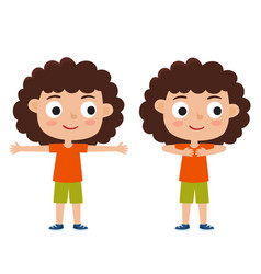 curly girl in exercise pose vector image vector image