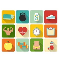 flat healthy life icons vector image vector image