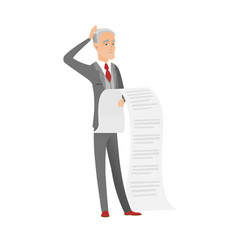 senior caucasian accountant holding a long bill vector image