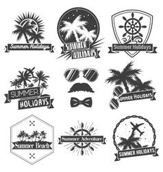 set of summer season labels in vintage vector image vector image