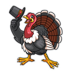 turkey cartoon character hold the hat vector image vector image