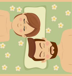 couple having relaxing flower treatment in spa vector image