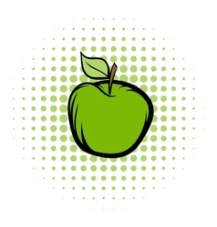 Green apple comics icon vector image vector image