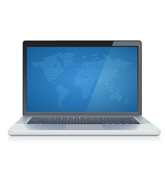 Laptop with abstract World map on screen vector image