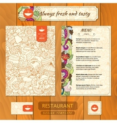 Corporate identity Menu and Business cards for vector image