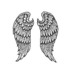 dotwork angel wings vector image vector image