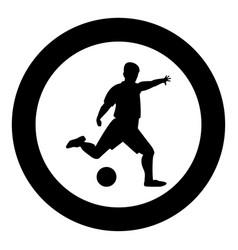 footballer icon black color in circle vector image