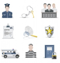 Law and order icons vector