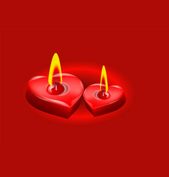 two candle in the form of heart vector image