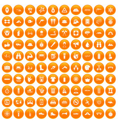 100 rafting icons set orange vector