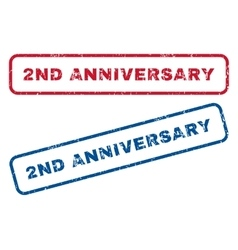 2nd Anniversary Rubber Stamps vector
