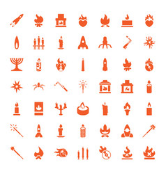 49 flame icons vector image