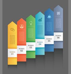 6 data infographics tab paper arrow template vector image