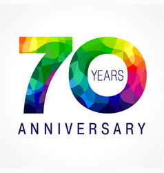 70 anniversary facet color logo vector image