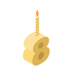 8 number and candles for birthday eight figure vector