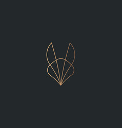 abstract gold gradient fox bunny ears logo design vector image