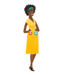 African pregnant woman holding baby booties vector