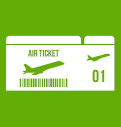 airline boarding pass icon green vector image
