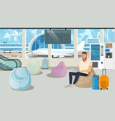 Airport comfortable waiting room cartoon vector