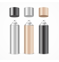 Aluminium spray can template blank color set vector