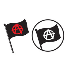 Anarchy black flag icons vector