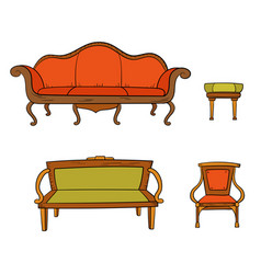 antique furniture set - chair couch sofa chair vector image