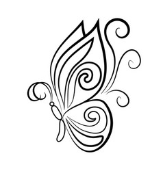 black outline of an elegant butterfly vector image