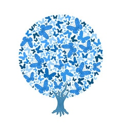 Blue round tree of butterflies vector