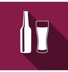 Bottle and glass of beer icon with long shadow vector