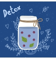 Bottle smoothie with mint blueberries Detox and vector