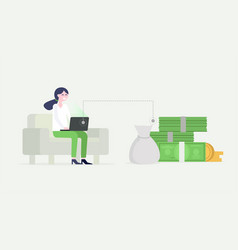 businesswoman working on laptop sitting on the vector image